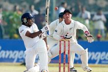 Kruger van Wyk prepares to dismiss Mahela Jayawardene. Photo / AP