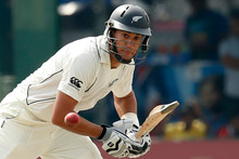 New Zealand's captain Ross Taylor plays a shot during the first day of the second test cricket match against Sri Lanka. Photo / AP