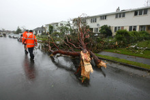 Destruction in Hobsonville, after Thursday's tornado. Photo / NZ Herald