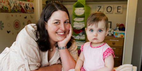 Katherine McMenamin came up with her app after having trouble finding suitable places to change daughter Zoe's nappies. Photo / Mark Mitchell