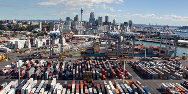 Development is already under way at the Ports of Auckland for an additional container berth and 3.6ha reclamation. Photo / Brett Phibbs