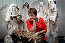 Chaplaincy administrator Alison Lamberton with the nativity scene from which a baby Jesus was stolen in 2011. Photo / Andrew Warner