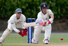 Wellington Firebirds batsman Luke Ronchi sweeps the ball during the Plunket Shield cricket match against the Auckland Aces being played at Eden Park. Photo / Greg Bowker