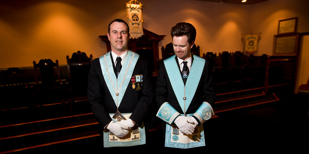 Shane Farley and Andy Pickering at the Eden Lodge of the Freemasons, Dominion Rd. Photo / Michael Craig