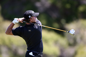 Adam Scott won last month's Australian Masters using a broomstick putter. Photo / APN