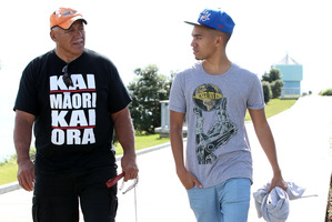 Kevin Tamati with his son Nathan Tamati and dog Zoe. Photo / APN