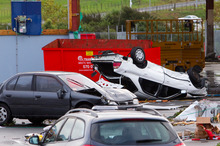 Scene of where a tornado struck, Albany, Auckland, New Zealand, Tuesday, May 03, 2011. Credit: NZPA / David Rowland.