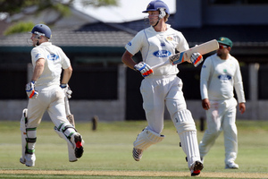 Derek de Boorder, captain, Sam Wells, batting for Otago. Photo / APN