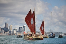 The Northland-built, double-hulled waka as they left Auckland at the start of their journey to Easter Island. Photo / Alan MacGillivray