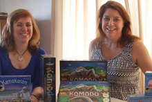 Local games designers Julia Schiller (l) and Amanda Milne with some of their creations. Photo / Supplied