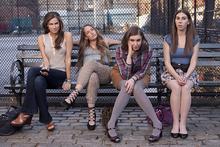 Girls stars Allison Williams, Jemima Kirke, Lena Dunham, and Zosia Mamet.