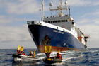 The survey vessel Orient Explorer bears down on Greenpeace inflatables while it was conducting a seismic survey for Petrobras.  Photo / Supplied