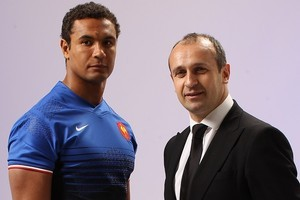 French captain Thierry Dusautoir and new coach Philippe Saint-Andre. Photo / Getty Images
