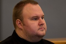 Kim Dotcom (also known as Kim Schmitz), during his bail appeal hearing at the Auckland High Court today. Photo / Brett Phibbs