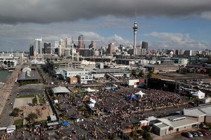 Crowds enjoy the music at St Jerome's Laneway Festival at Silo Park, Auckland. Photo / Richard Robinson