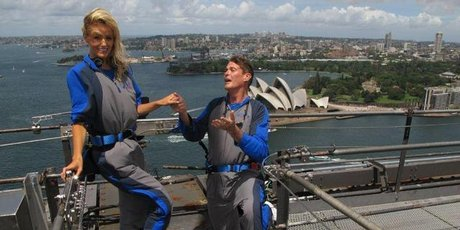 David Hasselhoff proposes to 32-year-old girlfriend Hayley Roberts on top of the Sydney Harbour Bridge. Photo / Supplied