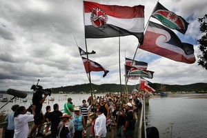 A large group heads toward the Waitangi treaty grounds after lunch during Waitangi Day celebrations in the Bay of Islands. File photo / Greg Bowker