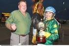 Merv Williamson (left) with I Didn't Do It and driver Jodi Quinlan. Photo / Supplied