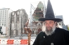 The Wizard of New Zealand back at his spot of 36 years in front of the quake damaged Christchurch Cathedral. Photo / David Alexander