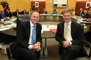 John Key and Bill English seem unduly relaxed. Photo / Mark Mitchell