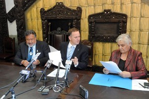 Maori Party co-leaders Pita Sharples and Tariana Turia, signing the confidence and supply agreement with the Prime Minister John Key last year. File photo / SNPA