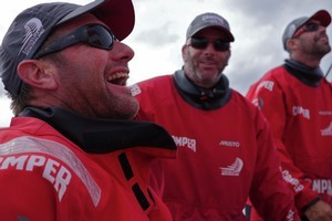 A light hearted moment aboard Camper. Photo / Camper Team NZ