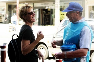 Are friendly charity collectors like Rotary volunteer Ken Linkhorn (r) being pushed aside by hustling chuggers?  Photo / Janna Dixon