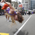 A performer does a flip during the Wellington Sevens parade. Photo / Mark Mitchell