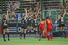 Stacey Michelsen celebrates her golden goal. Photo / Hockey NZ