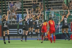 Stacey Michelsen celebrates her golden goal. Photo / Hockey NZ