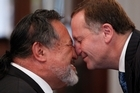 Pita Sharples (left) and John Key hongi. Photo / Mark Mitchell