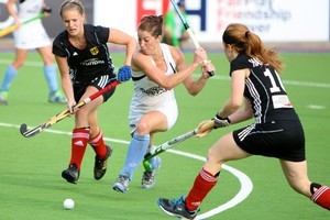 New Zealand striker Krystal Forgesson (centre) pictured during New Zealands game against Germany. Photo / Supplied