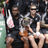 New Zealand players are seen riding a float during the Wellington Sevens parade. Photo / Mark Mitchell