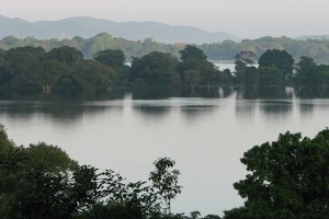 Sri Lanka's tranquil Kandalama Lake as seen from the Heritance Kandalama hotel. Photo / Jill Worrall