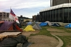 The Occupy Wellington site at Civic Square. Police have moved in to clear the site this morning. Photo / Twitpic from @Amanda Palmer