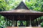 The supposed tomb of the last sultan of Singapore sits sheltered under a traditional 14th century Malay roof on top of Fort Canning Hill. Photo / Jim Eagles