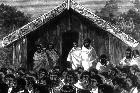 The Prophet Te Whiti addressing a meeting of Maori at Parihaka. Image / Alexander Turnbull Library