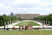 Apollo Fountain - with no water - in the foreground, with the Palace of Versailles in the distance. Photo / Jim Eagles