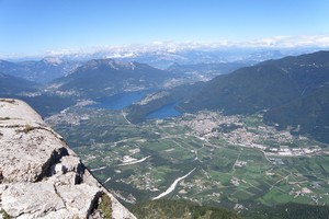 A view of lakes Levico and Caldonazzo from the summit of Pizzo di Levico in the Dolomites. Photo / Heather Whelan