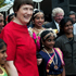 2003: Former Prime Minister Helen Clark poses with Indian Dance group 'Narathana Alayam', Sir Barry Curtis and Labour MP Phil Goff at the Manukau Family day on Waitangi Day. Photo / Kenny Rodger