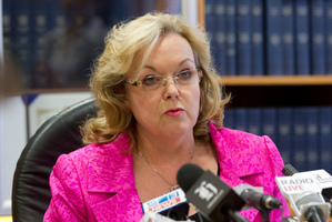 Justice Minister Judith Collins releasing Justice Binnie's report, on David Bain's bid for compensation, at a press conference in her Beehive office. Photo / Mark Mitchell