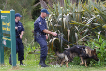 Police search the area around Long Bay for missing woman Cissy Chen. Photo / Kellie Blizard