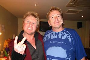Andrews with Sex Pistols singer Johnny Rotten. Photo / Supplied