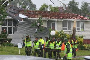 Tornado devastation on Wallingford Way in Hobsonville. Photo / Chris Gorman