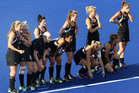 The New Zealand Black Sticks as Kayla Sharland misses a goal during the penalty shootout, in the Hockey Semifinal match against New Zealand and Netherlands. Photo / Brett Phibbs.