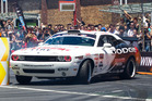 Samuel Hubinette in his 845hp Dodge was a real crowd pleaser. Photo / Graeme Murray,Red Bull