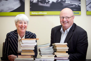 Workbase CEO Katherine Percy and training manager Greg Allen say more than 40 per cent of adults have literacy problems. Photo / Natalie Slade