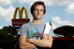 McDonald's staff member, Patrick Dubek, 19, was offered a $100 voucher to appear in a commercial. Photo / Michael Craig