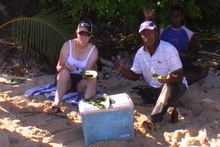 Amanda Austrin on holiday in Fiji eating the fish she believes made her ill. She wants her case to serve as a warning for doctors and travellers. Photo / Supplied