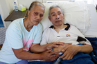 Lutimila Ma'afu with sick husband Semisi Ma'afu Samiu. Photo / Doug Sherring